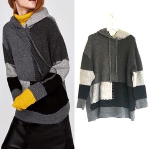 Zara Oversized Patchwork Hood Pocket Sweater